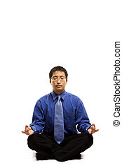 méditer, homme affaires