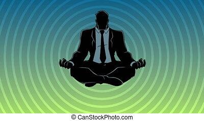 méditer, homme affaires, silhouette, fond