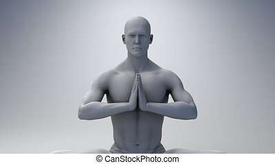 méditer, homme, engendré, informatique