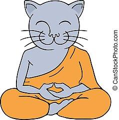 méditer, illustration, chat