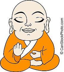 méditer, illustration, homme
