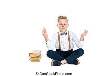 méditer, livres, garçon
