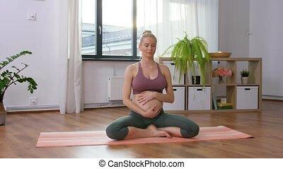 méditer, maison, femme, pregnant