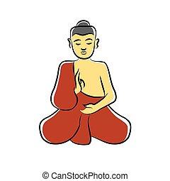 méditer, moine bouddhiste