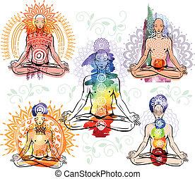 méditer, p, homme, croquis, lotus