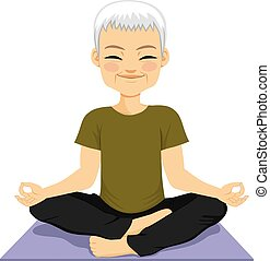 méditer, personne agee, homme yoga