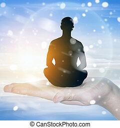 méditer, position, lotus, homme