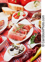 méditerranéen, apéritif, nourriture