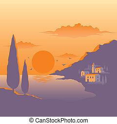 méditerranéen, coucher soleil