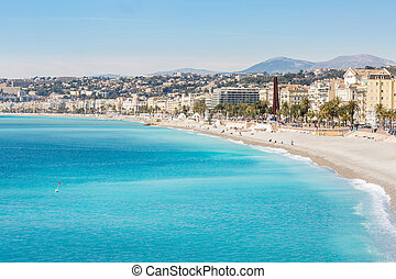 méditerranéen, france, plage, gentil