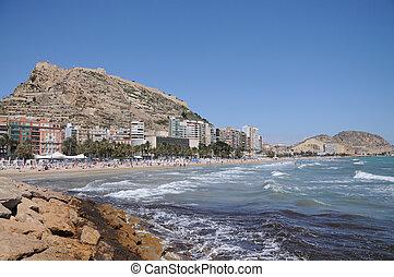 méditerranéen, plage, espagne