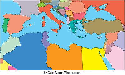 méditerranéen, région, pays