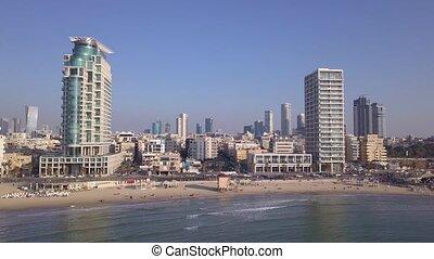 méditerranéen, téléphone, tlv, point, aviv, skyline., littoral, vue
