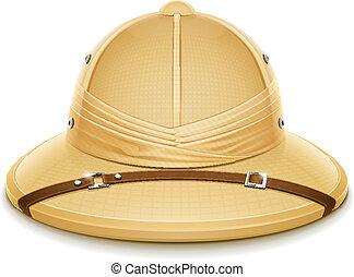 médula, sombrero, safari, casco