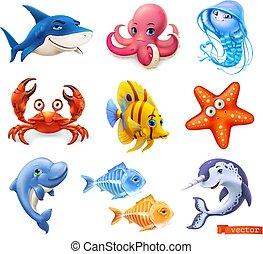 méduse, ensemble, crabe, mer, icône, caractère, fish, narwhal., 3d, vecteur, dauphin, animals., etoile mer, dessin animé, requin, poulpe