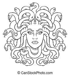 méduse, mythe, vecteur, créature, grec, coloration