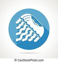 méduse, plat, bleu, rond, vecteur, icône