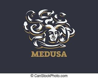 méduse, vecteur, illustration., gorgon.