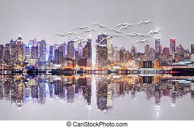 mégalopole, eau, oiseaux, reflet, nuit, blanc, illustration, 3d, troupeau, ciel, silhouette