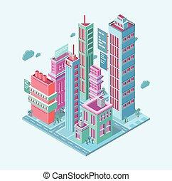 mégalopole, isométrique, city., gratte-ciel, business, tours, moderne, bâtiments, illustration, vecteur, fond, blanc, bâtiment.