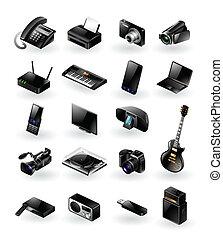 mélangé, électronique, ensemble, icône