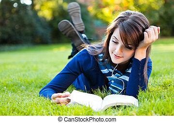 mélangé, étudier, course, étudiant université