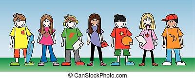 mélangé, adolescents, ethnique, jeunes