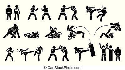 mélangé, arts martiaux, mma, actions.