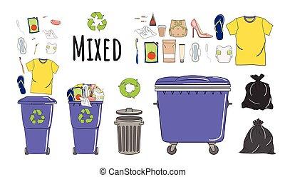 mélangé, boîtes, ensemble, déchets