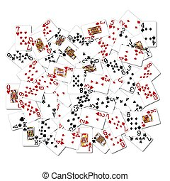 mélangé, cartes, jouer