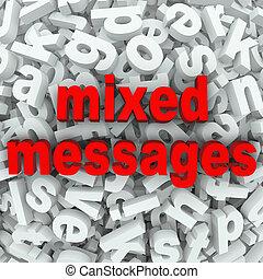 mélangé, communication pauvre, messages, mal compris