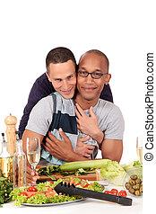 mélangé, couples gais, cuisine, ethnicité
