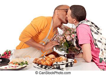 mélangé, couples gais, valentin, ethnicité