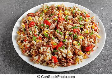 mélangé, déchiqueté, légumes, riz, boeuf