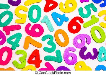 mélangé, différent, colours., nombres