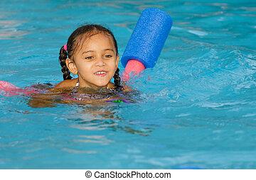 mélangé, enfant, course, joli, natation