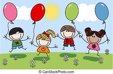 mélangé, enfants, heureux