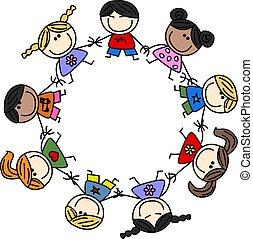 mélangé ethnique, enfants, amitié