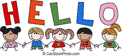mélangé ethnique, enfants, bonjour