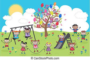 mélangé ethnique, enfants, heureux