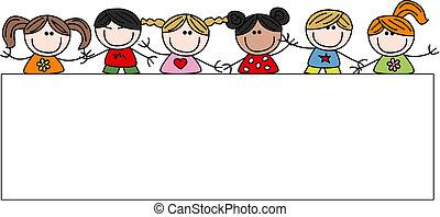 mélangé ethnique, heureux, enfants