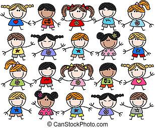 mélangé ethnique, heureux, gosses, enfants