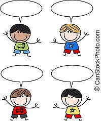 mélangé, garçons, ethnique, enfants, heureux