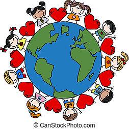 mélangé, gosses, amour, ethnique, heureux