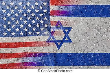 mélangé, israël, drapeaux, toqué, usa
