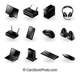 mélangé, matériel, icônes ordinateur
