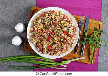 mélangé, plaque, riz, juteux, boeuf