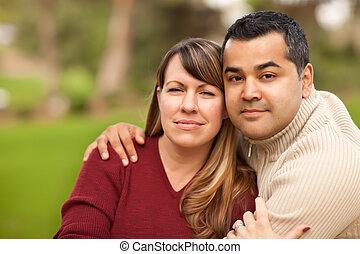 mélangé, portrait, couple, course, séduisant
