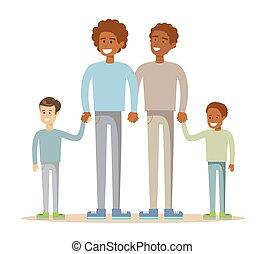mélangé-race, gay, famille, heureux