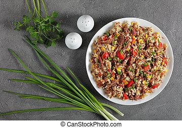 mélangé, riz, juteux, boeuf, végétariens